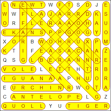 Example Word Search Puzzle's Solution